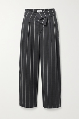 Monse Fold-over Pinstriped Wool Wide-leg Pants - Anthracite