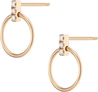 AUrate New York Circle Earrings with Diamond Bar