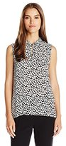 Vince Camuto Women's SleevelessFalling Cubes Collared Keyhole Blouse