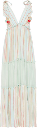 My Beachy Side MY BEACHY SIDE Tiered Striped Cotton Maxi Dress