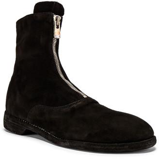 Guidi Stag Suede Zipper Boots in Black | FWRD