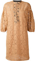 Nude three-quarter sleeve lace dress