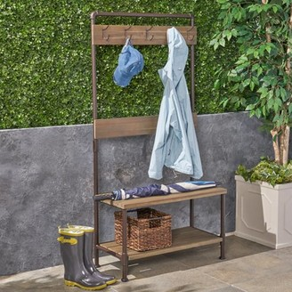Noble House Chelsea Outdoor Industrial Acacia Wood and Iron Bench with Shelf and Coat Hooks, Gray