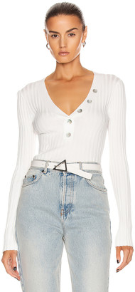 Veronica Beard Juliana V Neck Henley Top in Off White | FWRD