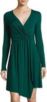 Three Dots Gabriella Faux-Wrap Jersey Dress, Eve Green