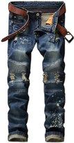 HerQueen Men's Destroyed Straight-Fit Hip-hop Slim Punk Stretch Bootcut Jeans