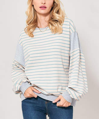 Avenue Hill Women's Pullover Sweaters LT.BLUE/TAUPE - Light Blue & Taupe Stripe French Terry Knit Sweater - Women