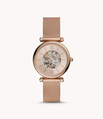 Fossil Carlie Automatic Rose Gold-Tone Stainless Steel Mesh Watch jewelry