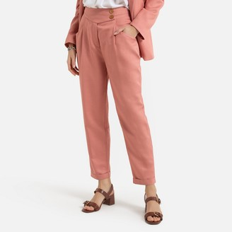 La Redoute Collections Cotton Mix Draping Trousers, Length 25.5""