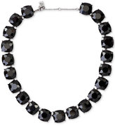 Lauren Ralph Lauren Silver-Tone Hide and Chic Black Crystal Collar Necklace