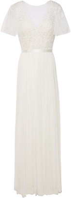 Catherine Deane Satin-trimmed Pleated Embroidered Tulle Gown