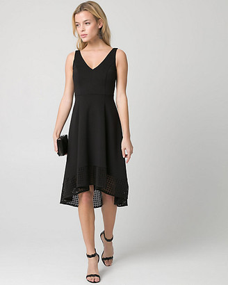 Le Château Laser Cut Scuba Knit V-Neck Dress
