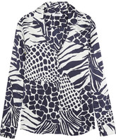 Equipment Adalyn Animal-print Washed-silk Shirt - Midnight blue