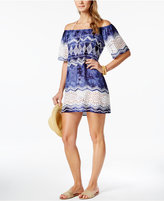 LaBlanca La Blanca Indigo Printed Crochet-Trim Off-The-Shoulder Cover-Up
