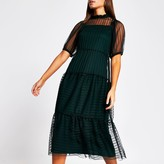 River Island Womens Green stripe mesh short sleeve midi dress