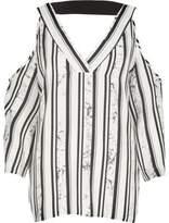 River Island Womens Black stripe print cold shoulder T-shirt