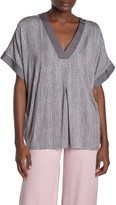 Donna Karan Short Sleeve Split Neck Top