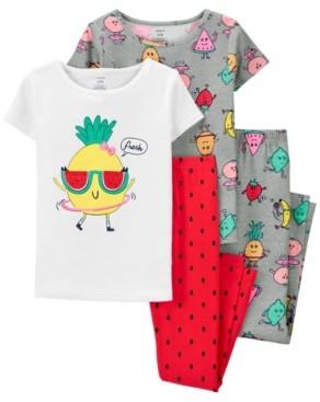 Carter's Big Girls 4 Piece Pineapple Snug Fit Pajama Set