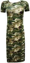 GirlzWalk ® Women Army Camouflage Print Short Sleeve Split Side Long Midi Dress