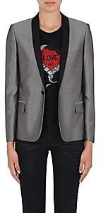Saint Laurent Women's Satin-Collar Metallic Tuxedo Jacket - Silver