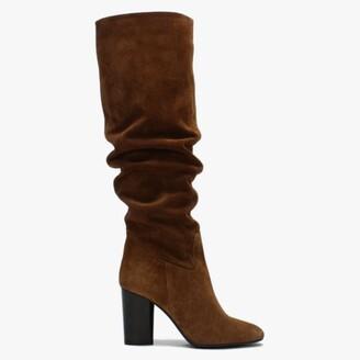 Daniel Lorna Tan Suede Block Heel Over The Knee Boots