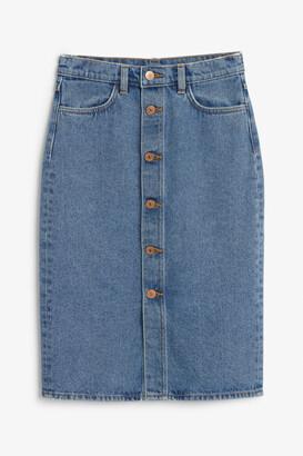 Monki Long denim skirt