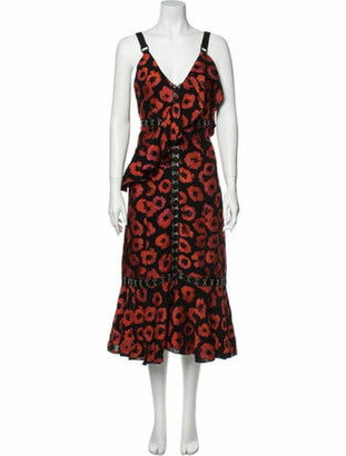 Proenza Schouler Animal Print Long Dress w/ Tags Red