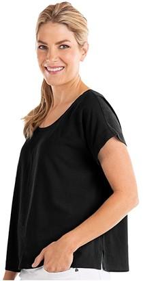 Fresh Produce Avila Short Sleeve Shirt in Soft Woven Crepe (Black) Women's Clothing