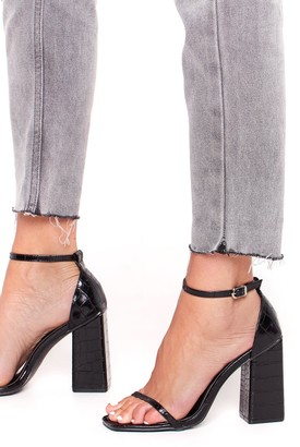 Nasty Gal Womens Under Croc and Key Patent Block Heels - black - 3