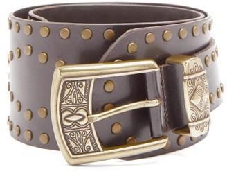 Etro Studded Leather Waist Belt - Brown Gold