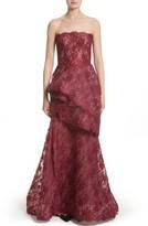Monique Lhuillier Women's Tiered Strapless Lace Gown