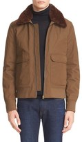 Acne Studios Men's 'Abel' Twill Jacket With Genuine Shearling Collar
