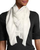 Alexander McQueen Skull Modal-Silk Scarf, White Pattern
