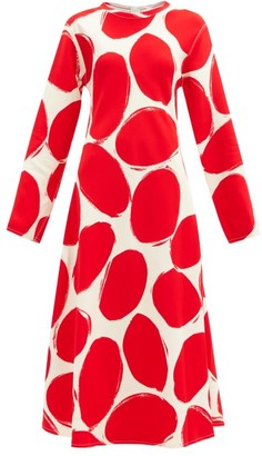 Marni Abstract Polka-dot Midi Dress - Red White