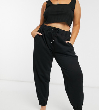 ASOS DESIGN Curve lounge black brushed jogger