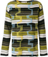 Marni wide neck patterned sweater
