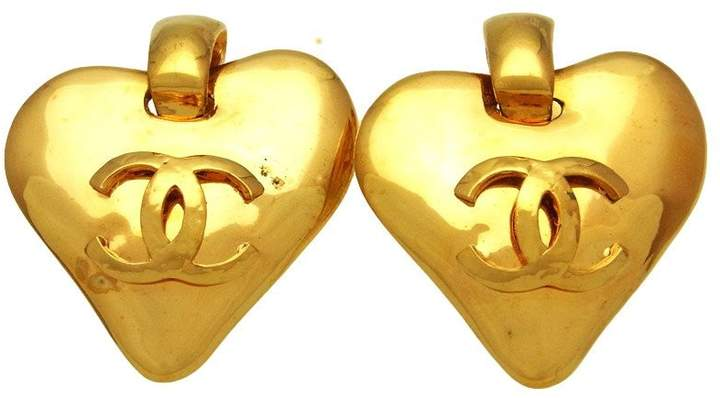 Chanel CC Logo Gold Tone Metal Heart Dangle Earrings