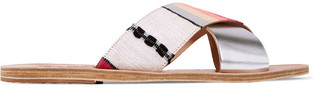 Ancient Greek Sandals Metallic Leather And Woven Slides