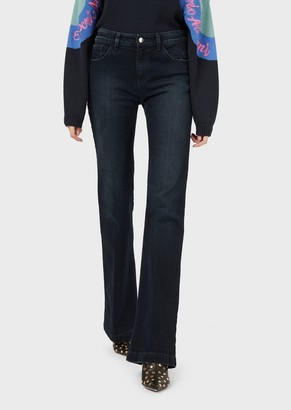 Emporio Armani J02 Bootcut, Over-Dyed Denim Jeans