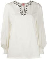 Le Sirenuse contrasting collar kaftan blouse