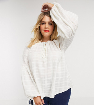 ASOS DESIGN Curve long sleeve textured smock top with high neck in white-No Color