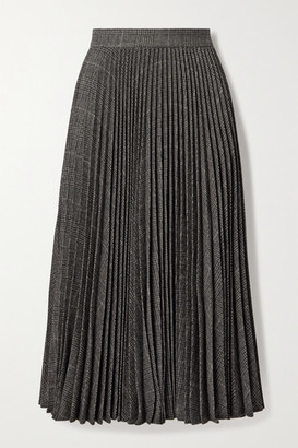 Michael Kors Pleated Houndstooth Wool-blend Midi Skirt - Dark gray