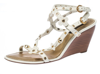 Louis Vuitton White Fleur Studded Leather Wedge Sandals Size 38