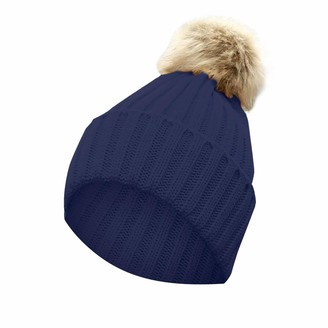 Winter Knitted Hat for Women BUKINIE Warm Knit Beanie Fleece Lined Bubble Hat Faux Rabbit Fur Pom Pom Hats Thick Thermal Skull Cap