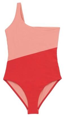 Magda Casa Raki Asymmetric Two-tone Swimsuit - Womens - Red Multi