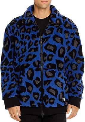 MSGM Giubbino Peacock Leopard-Print Sherpa Jacket