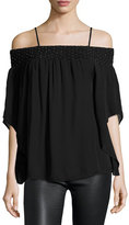 Parker Meilani Embellished Off-the-Shoulder Silk Blouse, Black