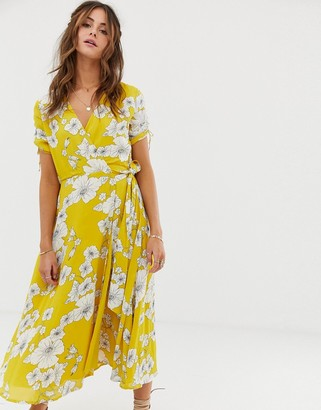 Cleobella Myra floral wrap midi dress-Yellow