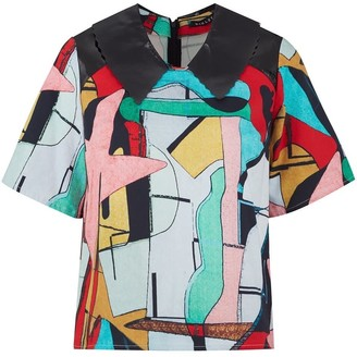 Manley Luna Print Top With Patent Leather Collar Multi