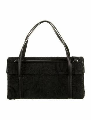 Cartier Calf Hair-Trimmed Handle Bag Black